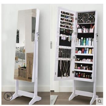 Wardrobe mirror bedroom multi-functional jewelry cabinet household mirror wall hanging fitting modern and simple floor mirror