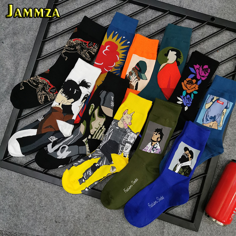 Cotton Fashion Funny Socks Man Europe Hiphop Punk Creative Retro Happy Socks For Street Style Skateboard Harajuku Male Socks