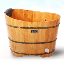 Bañera de madera maciza con barril para adultos, tina de baño pequeña de barril de madera maciza
