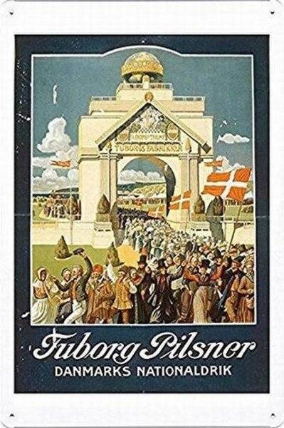 Tin Sign Metal Poster Plate 8 X 12 of Tuborg Pilsner Denmarks National Drink 1909 No.Metal Sign