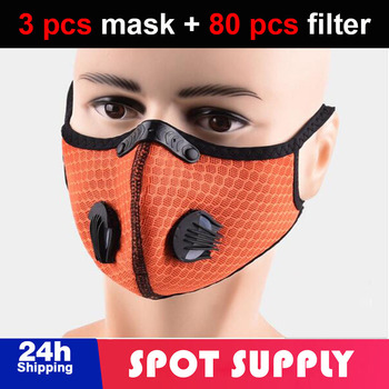 3 pcs PM2.5 Dust Mask Windproof Mask Double Valve With 80 pcs Replaceable Filter Cycling Sport Bicycle Bike Sport Face Mask