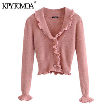 KPYTOMOA Women 2020 Fashion With Buttons Ruffled Cropped Knitted Cardigan Sweater Vintage Long Sleeve Female Outerwear Chic Tops