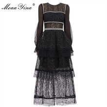 MoaaYina Fashion Designer Runway dress Spring Autumn Women Dress Black Lace Beading Sequin high quality Dresses