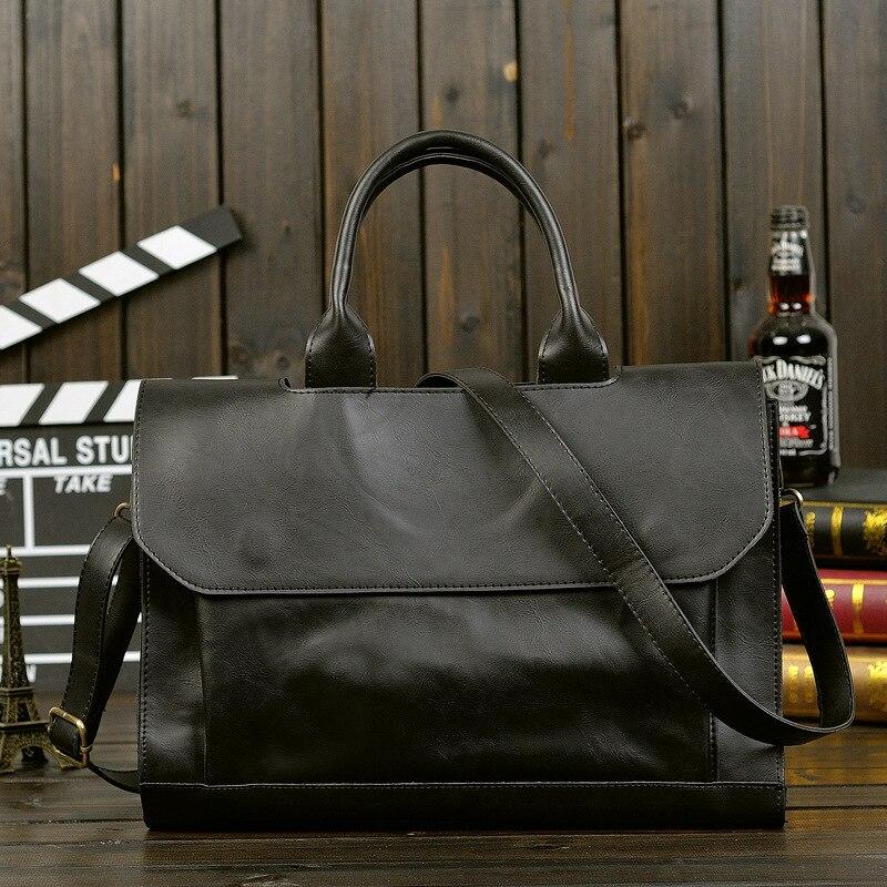 Men's Retro Portable Tide Bag Korean Men's PU Leather Crazy Horse Leather Briefcase Shoulder Messenger Business Computer Bags