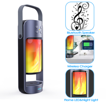 Wireless Charging Bluetooth Speaker Emergency Light HIFI Effect Flame Light Versatile Outdoor With Charging Treasure Function