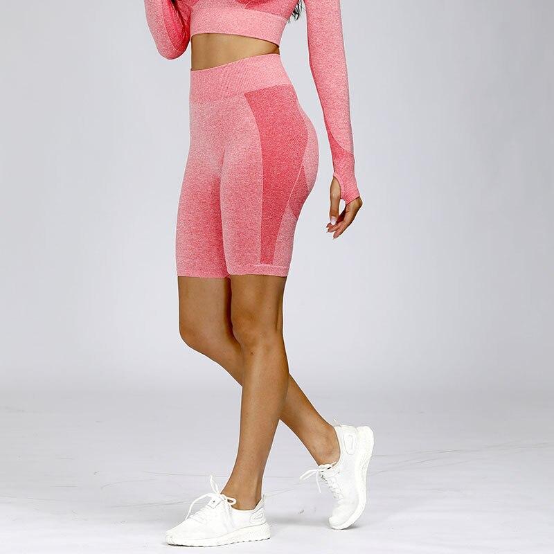 Гибкие бесшовные шорты для бега с высокой талией, женские спортивные Леггинсы для тренировок, шорты для занятий йогой, супер эластичные шор...
