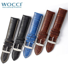 WOCCI 18mm 20mm 22mm Watch Strap Alligator Grain Calf Leather Black Brown Blue Crocodile Embossed Men Women Watch Band with Tool pulseira universal alligator crocodile grain leather strap wristwatch watch band correa de reloj 17june20