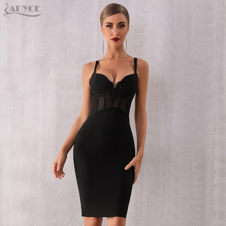 Adyce 2020 Summer Lace Bandage Dress Women Vestidos Sexy Spaghetti Strap Black Bodycon Club Dress Elegant Celebrity Party Dress