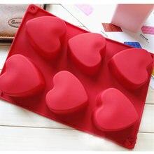 Силиконовая форма в форме сердца 6 ячеек для украшения тортов