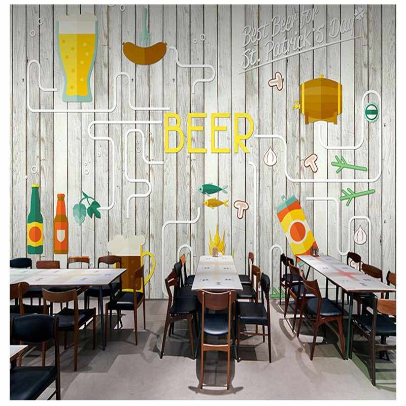 Envío Directo foto papel tapiz cerveza pollo frito hamburguesa papel pintado moderno estilo Industrial telón de fondo KTV Bar comida rápida tienda Mural