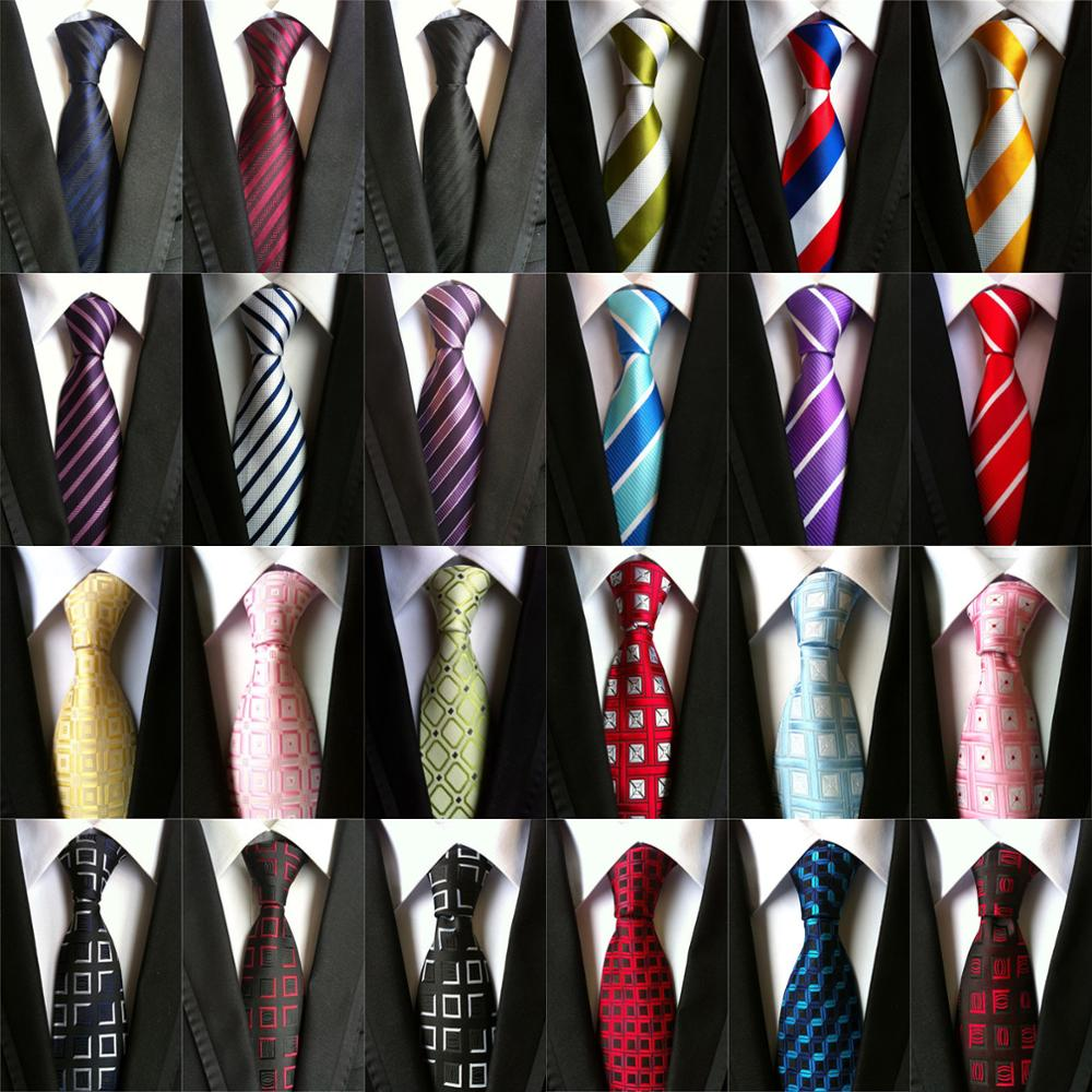 63 Style Classic Striped Print Design Mens Business Necktie 8cm Silk Ties For Men Wedding Neck Tie Blue Red Gold Black Tie A030