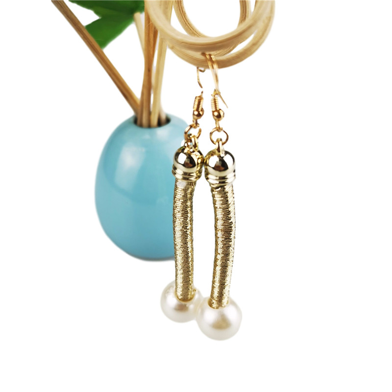 UKEBAY NEW Gold Color Pendant Drop Earrings For Women Luxury Earring Fashion Pearl Accessories Earrings For Wedding Gift Female