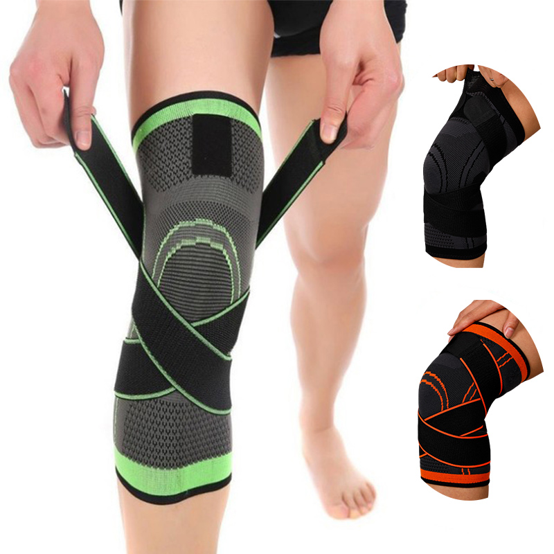 1pc Sport Running Kneepad Men Pressurized Elastic Nylon Knee Pads Patella Support Fitness Gear Basketball Volleyball Protector