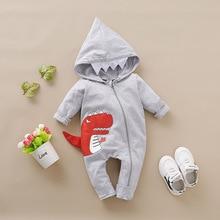 Комбинезон для новорожденных мальчиков с капюшоном, костюм динозавра 3D, Детские хлопковые комбинезоны с животными на Хэллоуин и Рождество для детей