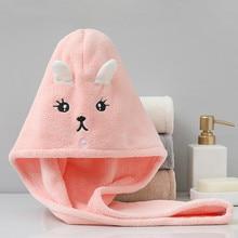 Quick Dry Hair Towel Microfiber Bath Towel Absorption Soft Towel For Hair Cute Cartoon Embroidery Shower Dry Hair Cap For Girls