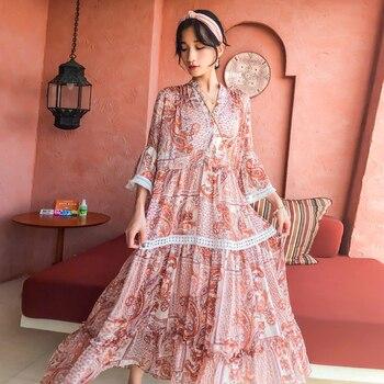Jastie w stylu Boho w kwiaty drukuj kobiety 2 sztuka zestaw sukienka wiosna 2020 V Neck drążą pod zewnętrzna sukienka szyk Retro wakacje zestaw na co dzień