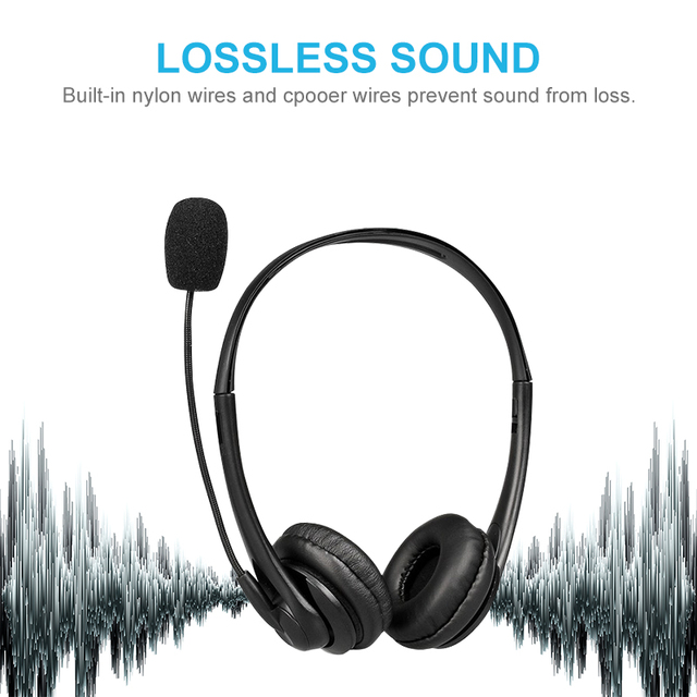 Call Center Wired Headset With Microphone Telephone Operator Headphone Noise Canceling for Computer Phones Desktop Boxes 5