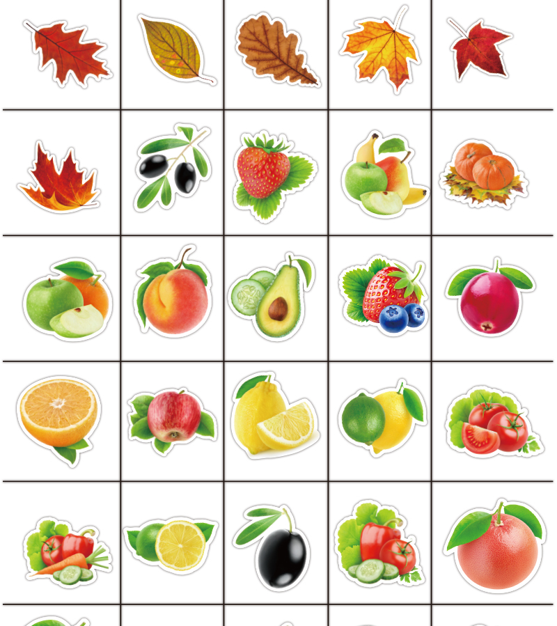 25Pcs/lot Exquisite Cartoon Fresh Fruits and Vegetables Stickers