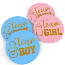 24 pçs 48 pçs equipe menina equipe menino crachá adesivos menino ou menina votar ornamento marca diy gênero revelar decorações de festa suprimentos