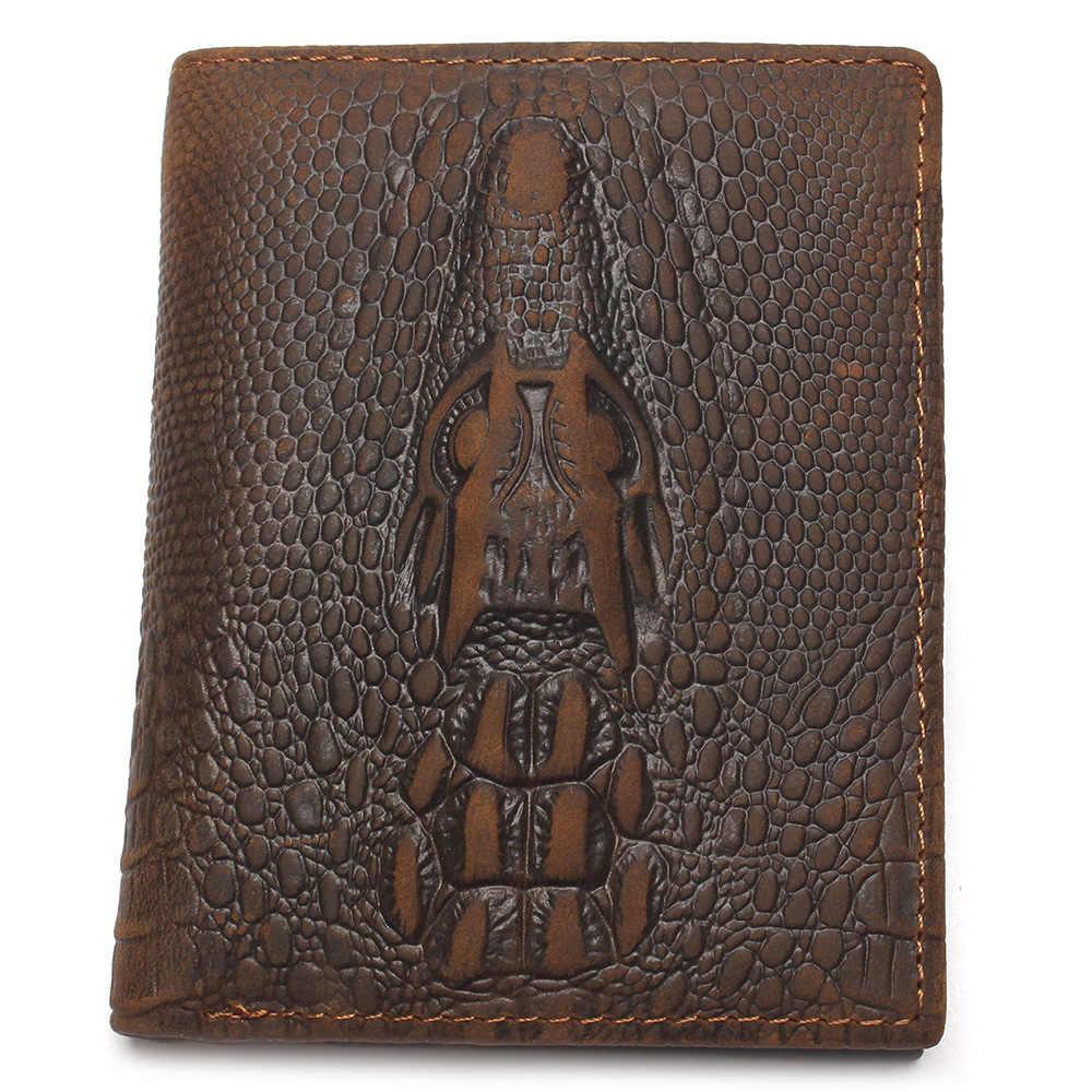 หนังแท้วัสดุแฟชั่นสีน้ำตาลจระเข้ผู้ชายกระเป๋าสตางค์กระเป๋าสตางค์สำหรับชาย
