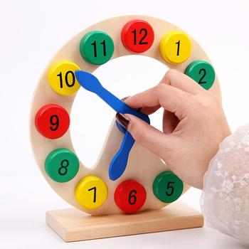 Kids Montessori Wooden Clock Toys Hour Cognition Colorful Clocks Toys  Early Preschool Teaching Aids flyingtown montessori teaching aids balance scale baby balance game early education wooden puzzle children toys