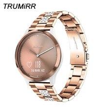 Paslanmaz çelik ve elmas kordonlu saat Garmin Vivomove HR/ 3/ 3S/lüks/stil/Vivoactive 4S 40mm / 3 / Venu saat kayışı kayış