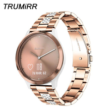 Pulseira de aço inoxidável & diamante para garmin vivomove hr/3/ 3 s/lux/style/vivoactive 4S 40mm/3/venu pulseira de relógio