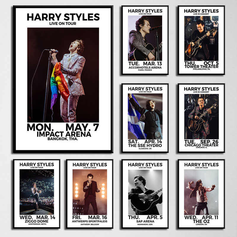 art decor harry styles 2018 music world tour live singer star wall art canvas painting silk poster home decoration