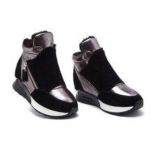 Botas de cuero de gamuza zapatos de invierno para mujer 2019 zapatillas de deporte de moda para mujer zapatos de aumento de altura botas de nieve de felpa caliente KT004