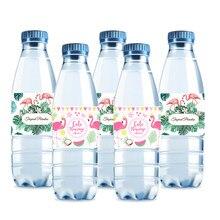 Etiqueta de garrafa de água mineral da folha, adesivos de flamingo para festa tropical, decoração de verão, garrafa de abacaxi com 10 peças