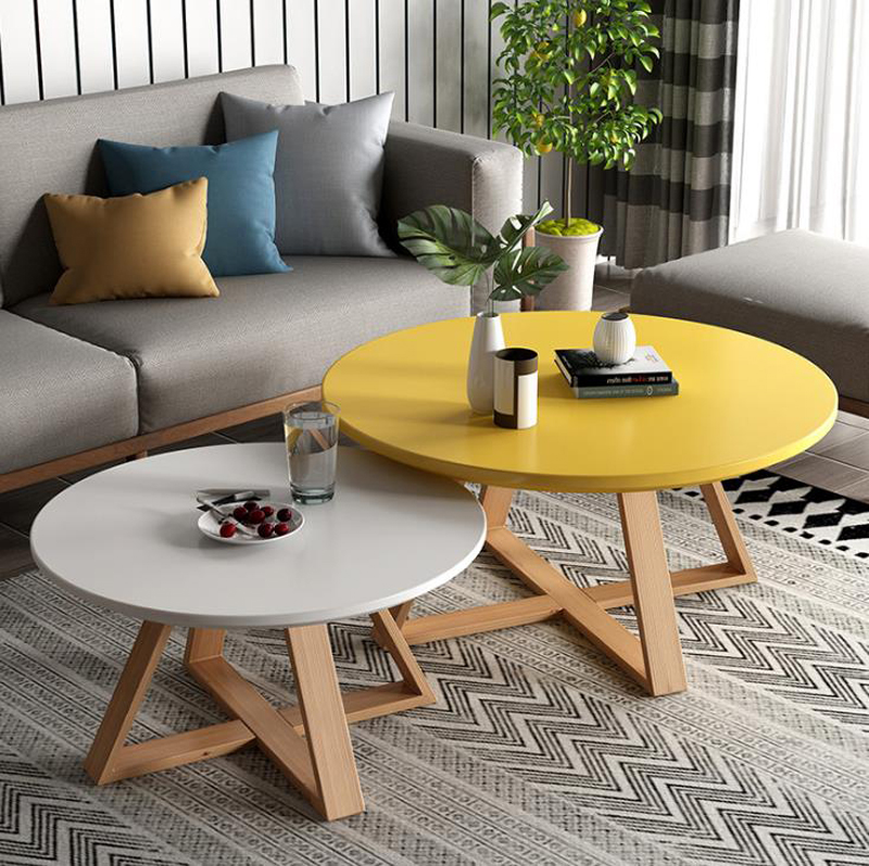 2pcs Tables Combination журнальный столик Coffee Table For Living Room Solid Wood Round Tables Simple Assembly Center Tables