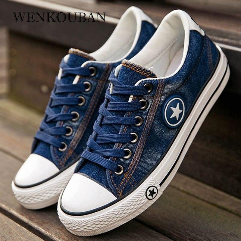 2020 Denim Sneakers Men Vulcanize Shoes Lace Up Canvas Trainers  Men Casual Shoes Anti Slip Sneaker Male Flats Zapatos De Hombre