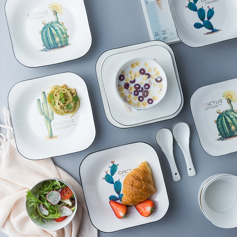 Cartoon Cactus Square Dinner Plate Breif Household Ceramic Plate Porcelain Breakfast Dessert Cake Tray Fruit Snack Dishes Plate in Dishes Plates from Home Garden