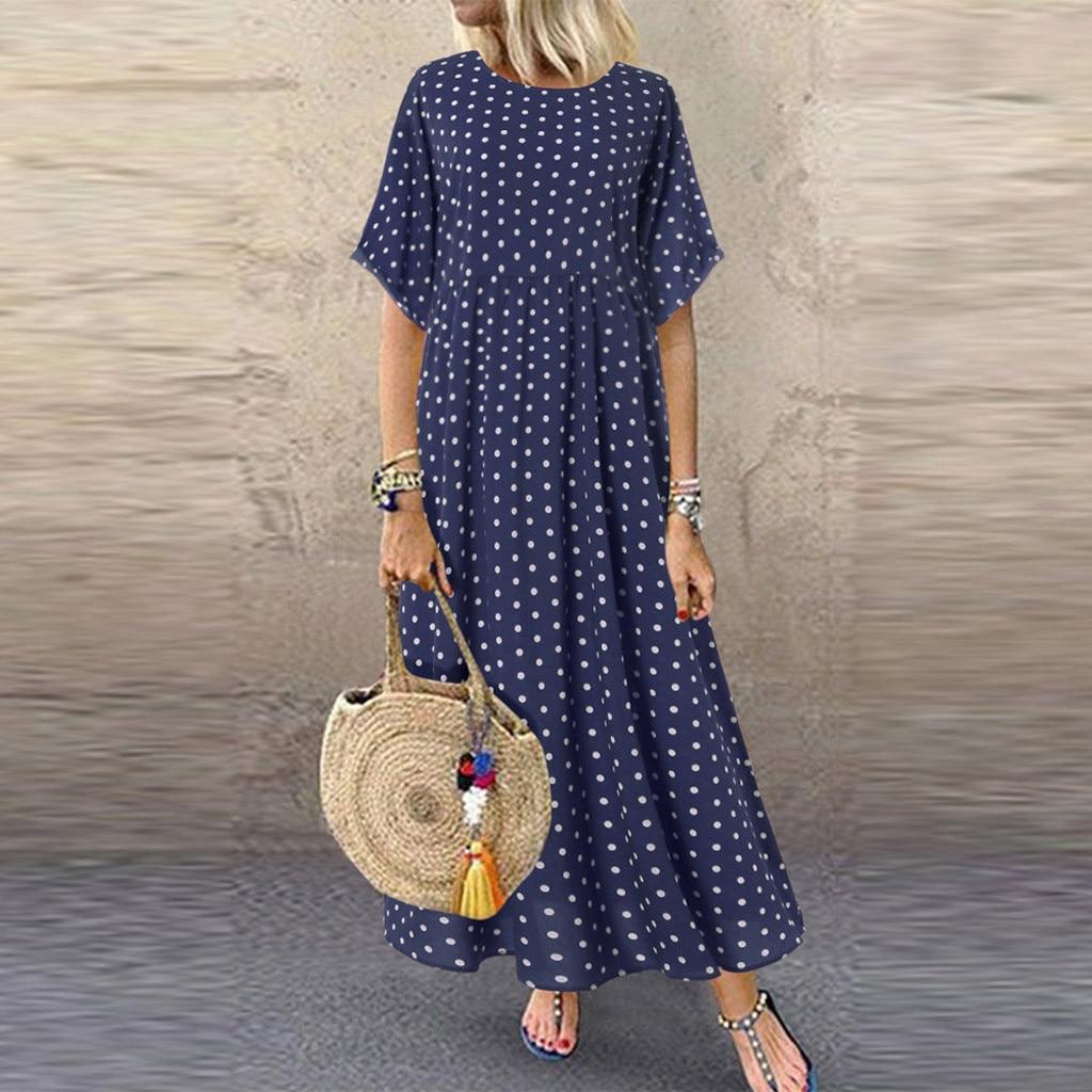 MISSOMO 5XL Dress Women Vintage O-Neck Long Maxi Dress Dot Peinted Casual Summer Dress Beach Boho Dresses Vestidos Robe 79