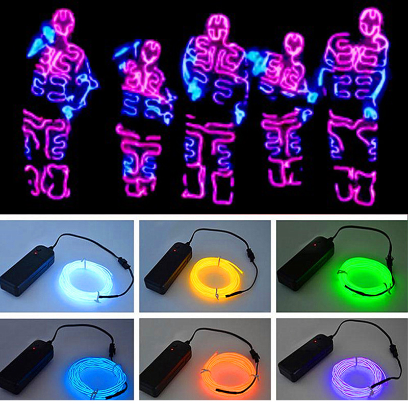 Glow EL Wire Cable LED Neon Christmas Dance Party DIY Costumes Clothing Luminous Car Light Decoration Clothes Ball Rave 3 M/5 M