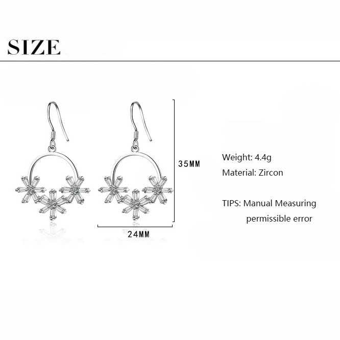 ANENJERY Literary Ice Zircon Flower Wreath 925 Sterling Silver Earrings For Women Two Colors S-E925 4