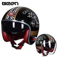 Beon capacete do vintage scooter capacete aberto rosto capacete de moto cruz do vintage casque moto casco capacete retro