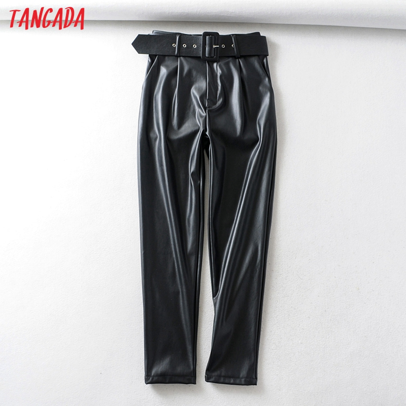 Женский костюм из искусственной кожи Tangada, черные брюки с высокой талией и карманами, офисные брюки из искусственной кожи 6A05, 2019|  - AliExpress - Хиты ZARA на Алиэкспресс