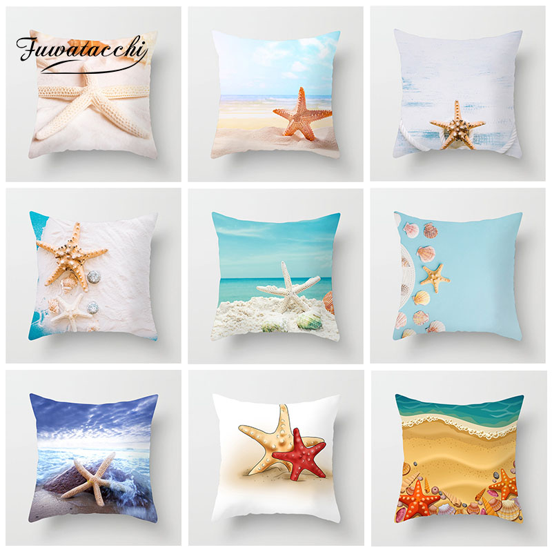 Fuwatacchi Animal Cushion Cover Starfish Beach Ocean Pillow Case For Car Home Sofa Decorative White Print Pillowcase 45cm*45cm
