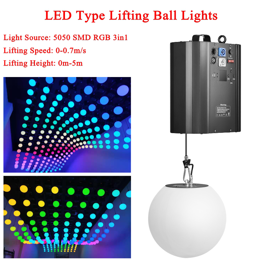 3D Up Down Lifting Height 0m-5m DMX RGB LED Lifting Ball Modern Wave Effect Colorful Kinetic Light Lift Ball For Stage DJ Disco