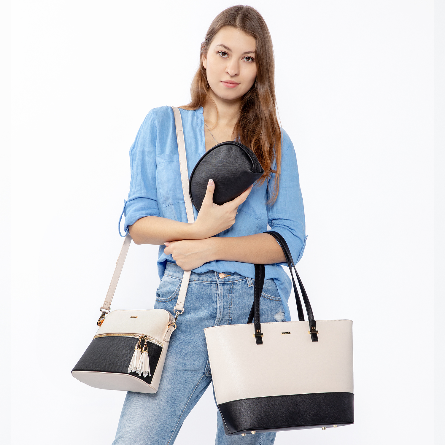Ha3e779dca0d4495d9933d310c5f5dcc6D - women shoulder bags crossbody bags for ladies large tote bag set 3 pcs clutch and purse luxury handbag women