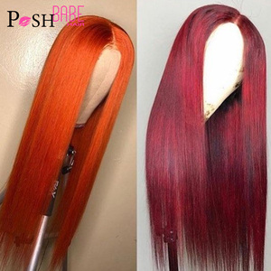 POSH BABE #350 Color Human Hair Wigs Long Remy Brazilian Straight Lace Frontal Wig 99J Lace Front Wigs with Pre Plucked Hairline(China)