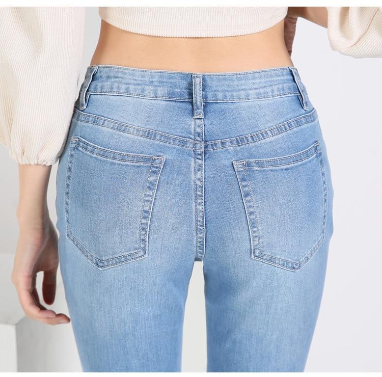 KSTUN FERZIGE high waist women jeans stretch light blue hollow out embroidery slim fit bell bottom pants fashion women's jeans size 36 21
