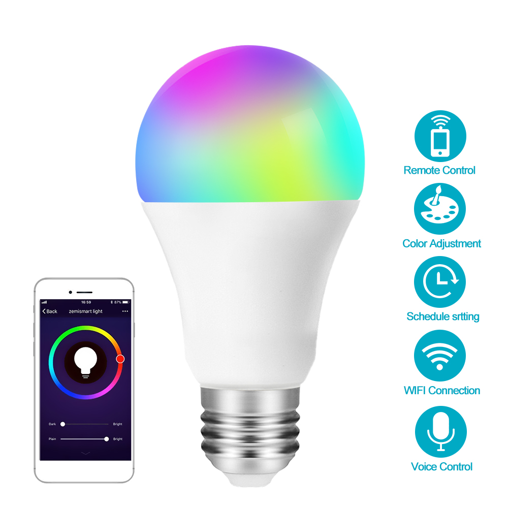 E27 wifi патрон, умный свет лампы, затемнения, многоцветный, пробуждение света, RGBWW светодиодный светильник, совместимый с Alexa Google Assistant