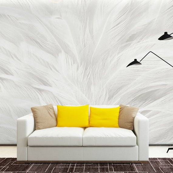 3D Panting Simple Modern Photo Wallpaper Wall Murals Elegant White Grey Color Wall Mural Flying Feathers Abstract Nordic Wall