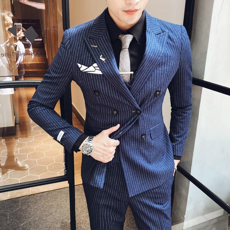 New 2020 Grooms Stripe Wedding Luxury Slim Fit Men Tuxedo Suit Smoking Homme Mariage Ternos Masculino