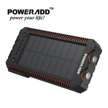 цена на Poweradd Waterproof 12000mAh Solar Power Bank Portable Charger Dual USB Ports External Battery for Mobile Cellphone