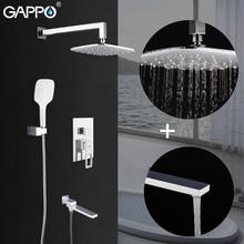 GAPPO 샤워 시스템 벽 마운트 화이트 욕실 수도꼭지 믹서 강우량 샤워 세트 폭포 torneira do chuveiro 욕실