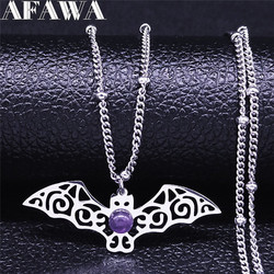 Witchcraft Bat Purple Crystal Stainless Steel Charm Necklace Silver Color Necklace Chain Jewelry bijoux femme NXS02