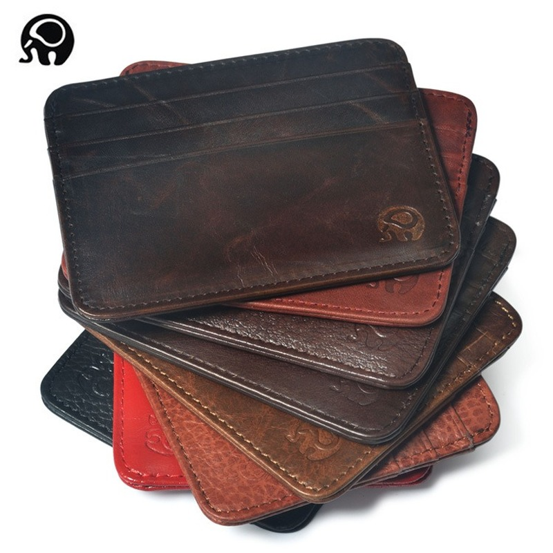 New Thin Genuine Leather Mini Wallet Slim Bank Credit Card Holder Men's Business Small ID Case For Man Purse 6 Slots Cardholder